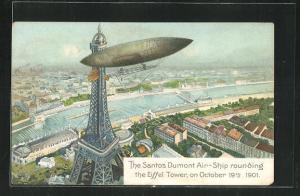 AK Paris, Zeppelin, The Santos Dumont Air-Ship rounding the Eiffel Tower, on October 19th 1901