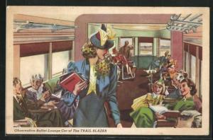 AK Eisenbahn, Trail Blazer, Observation-Buffet-Lounge Car, Passagiere im Waggon, Innenansicht