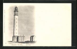 AK Ostende, Leuchtturm mit Haus nebenan