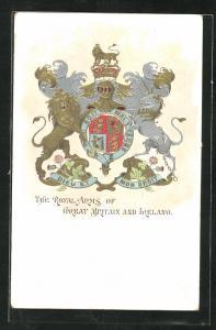 Präge-AK The Royal Arms of Great Britain and Ireland, Löwe und Einhorn mit Wappen