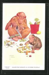 Künstler-AK Lawson Wood: Gran`Pop makes a Jig-Saw Puzzle, Affen schneiden Obst und Gemüse