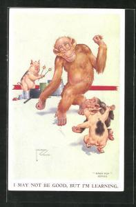 Künstler-AK Lawson Wood: I may not be good, but I`m learning, Affen und Schweine beim Tanzen