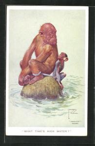 Künstler-AK Lawson Wood: What time`s high water, Affen sitzen auf einem Felsen im Wasser