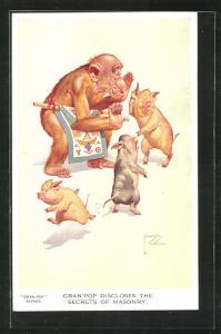 Künstler-AK Lawson Wood: Gran`Pop discloses the secrets of Masonry, Affe flüstert einem Schweinchen ins Ohr