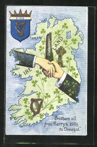 AK Irland, Brothers all from Kerry`s Hills to Donegal, Landkarte mit Turm, Laute und Kreuz, Händeschütteln, Wappen
