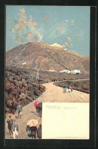 Lithographie Napoli, Vesuvio, Vulkan