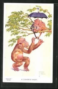 Künstler-AK Lawson Wood: Affe bindet die Schwänze zweier Affen zusammen