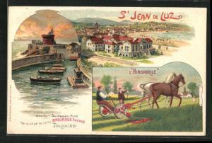 Künstler-AK S-Jean-de-Luz, l'Hirondelle, Ruderboote und Panorama