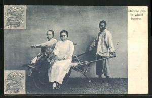AK China, Chinese girls on wheel barrow
