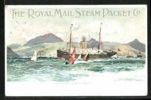 Künstler-AK St. Vincent, Dampfer und Segelschiffe an der Küste