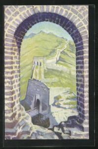 AK China, The Great Wall of China, Blick auf Mauer mit Berg durch Bogen
