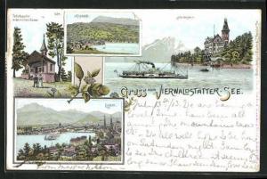 AK Luzern, Vierwaldstätter-See, Hertenstein, Küssnacht, Tells-Kapelle in der hohlen Gasse