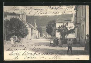 AK Pont-de-Roide, Entrée du Village, Route de Besancon