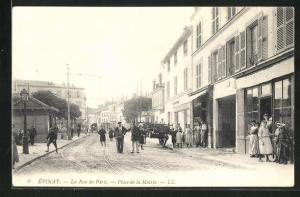 AK Épinay, La Rue de Paris, Place de la Mairie