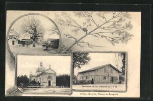 AK Saint-Vincent-de-Pau, Berceau, Strassenpartie, Kirche