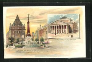 Lithographie Brüssel / Bruxelles, Théatre Royal de la Monnaie, La Place de Broukère et Monument Anspach