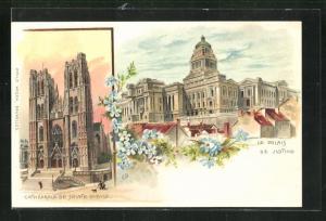 Lithographie Brüssel / Bruxelles, Le Palais de Justice, Cathédrale de Sainte Gudule