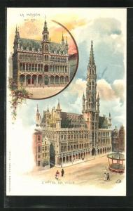 AK Brüssel / Bruxelles, l`Hôtel de Ville, la maison du roi