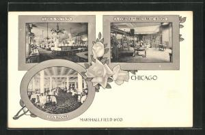 AK Chicago, IL, Marshallfield & Co., Linen Section, Tea Room, A Corner in the Bric-a-Brac Room