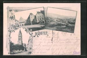 AK Münster, Kirche, Blick auf Platz mit Häusern, Totalansicht mit Umgebung