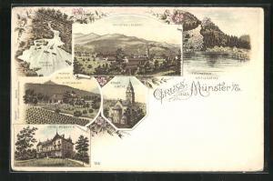 Lithographie Münster i. E., Evang. Kirche, Hotel Münster, Pachthof St. Gilgen, Pflixburg, Stolzer Abfloss, Fischbödle