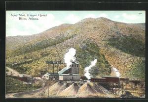 AK Bisbee, AZ, Spray Shaft, Copper Queen, Fabrik an Berghang