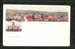AK Denver, CO, Amtsgebäude und Ortsansicht mit Häusern und Blick auf Berge