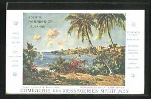 AK Mombasa, vu de la Terre Ferme, Blick auf Stadt mit Palmen, Meer und Booten, Messageries Maritimes