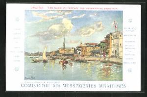 AK Sansibar, Les Quais et l`Agence des Messageries Maritimes, Segelboote und Häuser