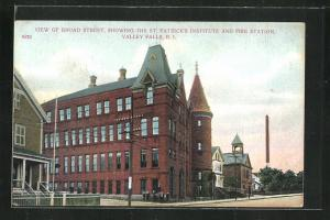 AK Valley Falls, RI, View of Broad Street, showing the St. Patrick`s Institute and Fire Station
