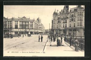 AK Belfort, Entree du Boulevard, Blick von Brücke auf Strasse