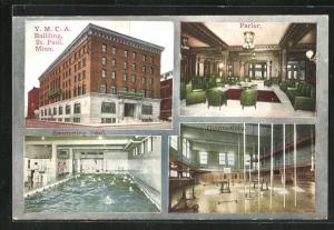 AK St. Paul, MN, Y. M. C. A. Building, Parlor, Gymnasium, Swimming Pool