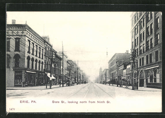 AK Erie, PA, State St., looking north from Ninth St. 0