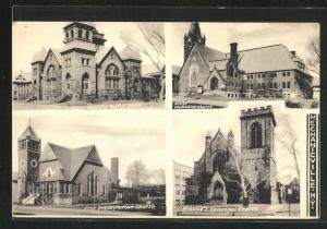 AK Mechanicville, NY, Memorial Baptiste Church, First presbyterien Church, First Methodist Church, St. Luke's Church