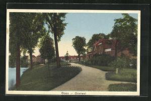 AK Goes, Oostwal, Park mit Promenade