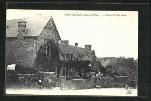 AK Port-Blanc, Blick auf Häuser aus Feldsteinen
