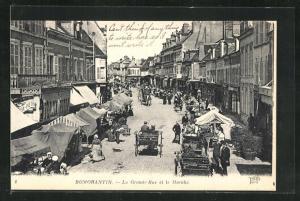 AK Romorantin, La Grande-Rue et le Marche
