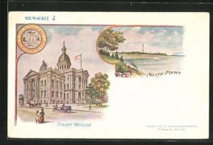 Künstler-AK Milwaukee, WI, Court House, North Point