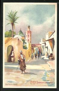 Künstler-AK Rabat, Une Rue, Strassenansicht mit Anwohnern