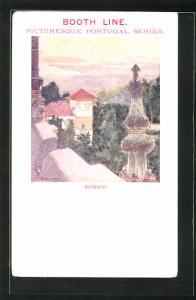 Künstler-AK Bussaco, Blick vom Balkon eines Hauses