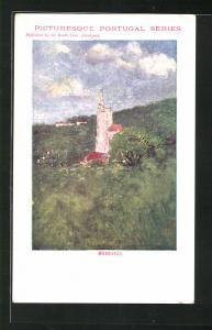 Künstler-AK Bussaco, Waldpartie an der Kirche