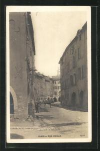 AK Alais, Rue Vieille, Häuserfassaden und Pferdekarren