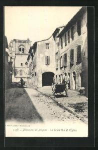 AK Villeneuve-les-Avignon, La Grand` Rue et l`Eglise