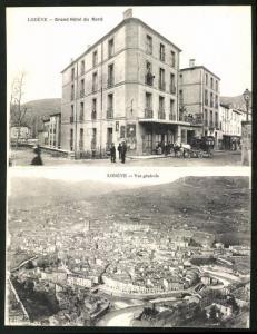 Klapp-AK Lodève, Grand Hotel du Nord, Ortsansicht