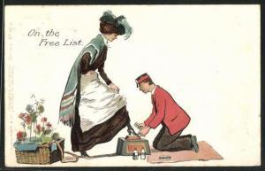 Künstler-AK Schuputzer bürstet einer elegant gekleideten Dame den Schuh