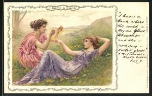 Künstler-AK Shakespeare, I knoe a bank, zwei junge Damen liegen auf einer Blumenwiese
