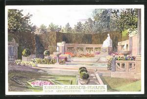 Künstler-AK Kaiserin Elisabeth (Sissi) von Österreich Denkmal im Wiener Volksgarten