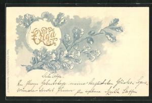 Präge-AK Namenstag Olga in goldener Schrift und Eichenblättern