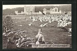 AK The Battle of Omdurman, Soldaten auf dem Schlachtfeld