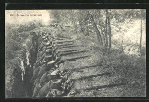 AK Schweizer Infanterie im Schützengraben